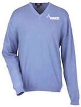 Picture for Mens Long-Sleeved V-Neck Sweater - Bay Blue 2X